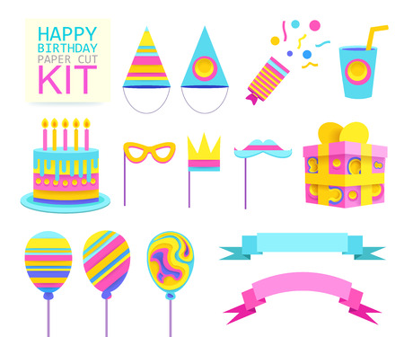 Happy Birthday Party Set for Celebration. Vector objects.