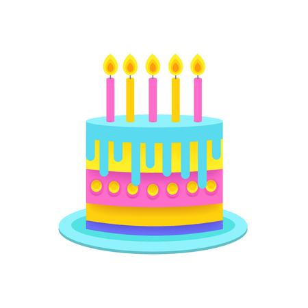 Bitrhday Kuchen. Dessert-Torte. Papier-Origami-Stil. Vecor Abbildung Standard-Bild - 97359980