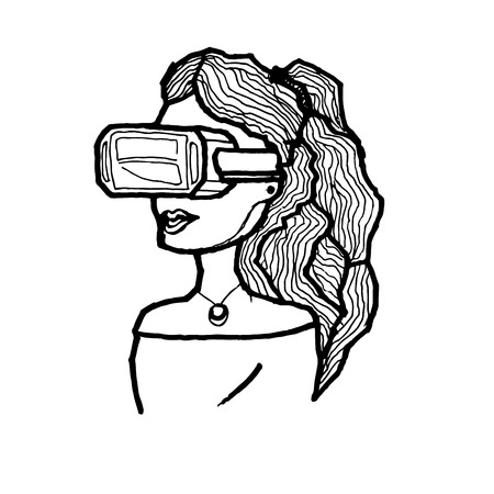 Hand drawn Woman in virtual reality glasses. Vector illustration Stock Illustratie