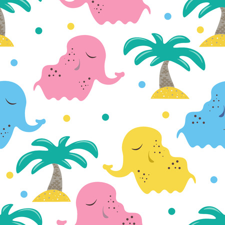 Cute seamless childish pattern for kids in scandinavian style with elephant and palm. For wrapper, textile or printing