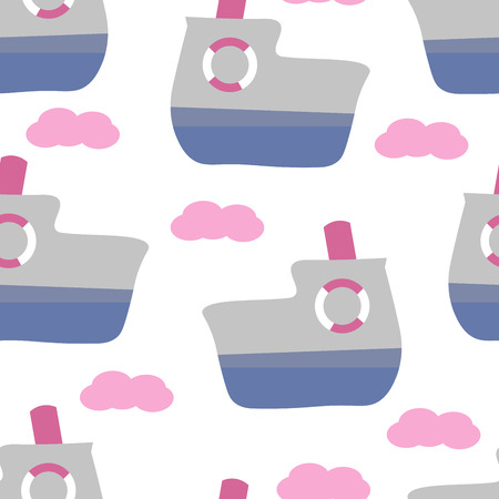 Cute seamless childish pattern for kids in scandinavian style with ferry. For wrapper, textile or printing Illustration