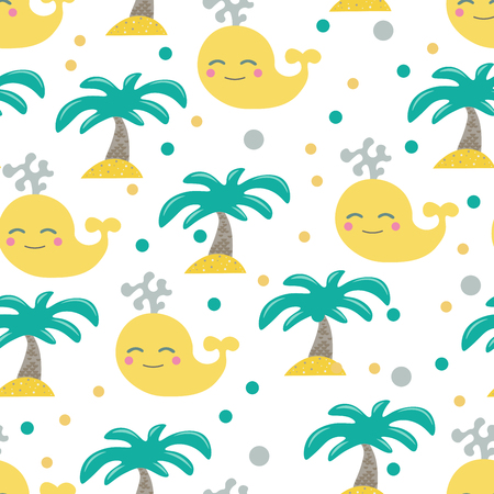 Cute seamless childish pattern for kids in scandinavian style with whale and palm. For wrapper, textile or printing Standard-Bild - 102778041