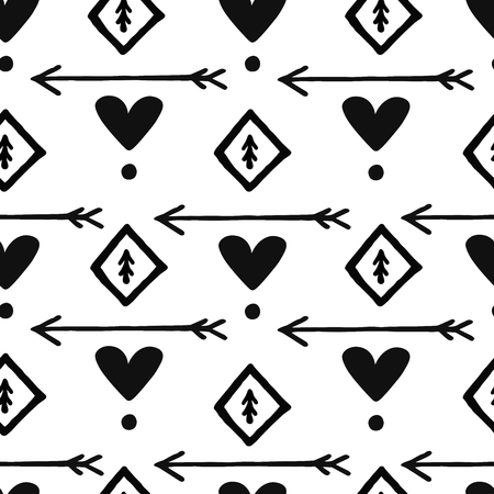 Ethnic scandinavian seamless pattern for background, textile, wrapper. Arrow, heart, dots. Vector hand drawn design