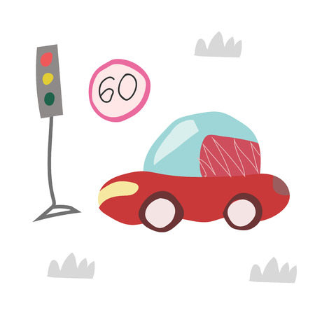 Seamless pattern with hand drawn car on the road. Scandinavian style for kids. Cartoon illustration