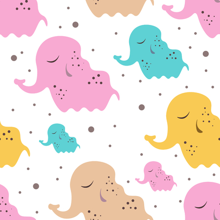 Cute seamless childish pattern for kids in scandinavian style with elephant. For wrapper, textile or printing