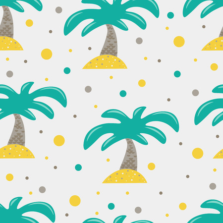 Cute seamless childish pattern for kids in scandinavian style with palm tree. For wrapper, textile or printing
