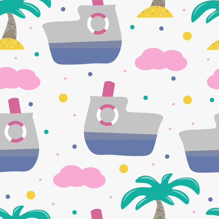 Cute seamless childish pattern for kids in scandinavian style with ferry and palm. For wrapper, textile or printing