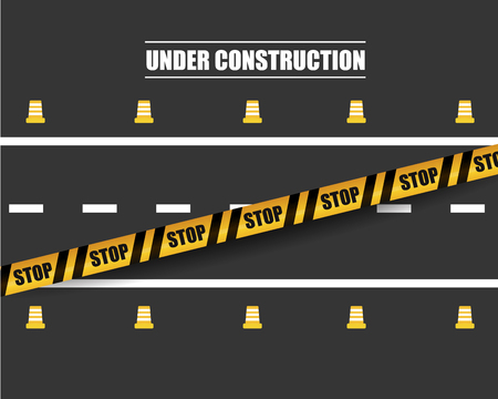 Road under construction illustration with black and yellow striped ribbon. Danger, attention sign. Vector illustration Ilustração
