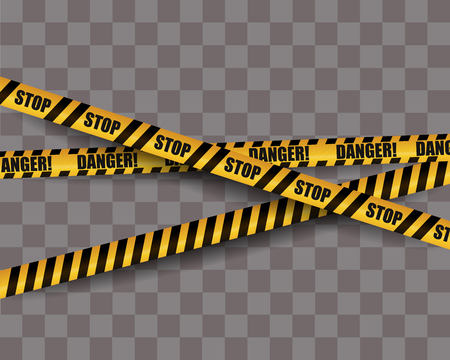 Black and yellow warning stripes isolated. Police, danger, construction sign. Vector illustration