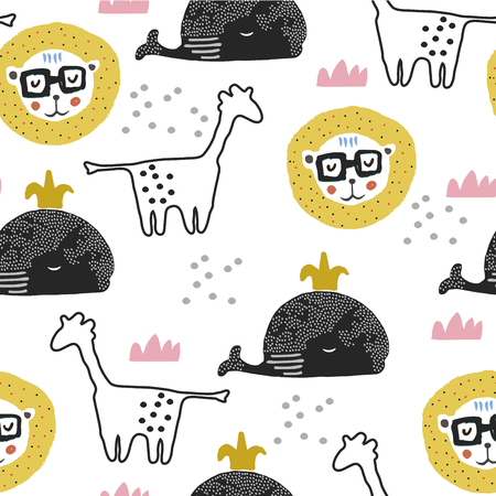 Cute seamless pattern with girafe,lion,tiger and whale. Animal pattern in scandinavian style. For children and kids. For textile,fabric, wrapping or poster. Vector hand drawn illustration.