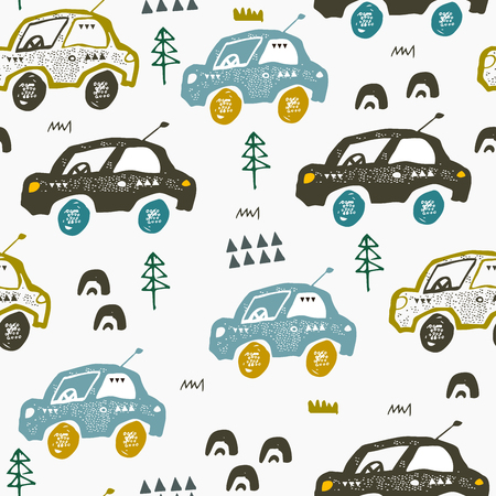 Pattern with cars. Hand drawn autos on the road. Scandinavian style design. Decorative abstract art. Textile or fabric design Vettoriali
