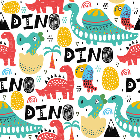 Pattern with dino,dinosaur with palms and eggs and newborn dino child. Kids drawing illustration, abstract background,textile,fabric or poster. vector art
