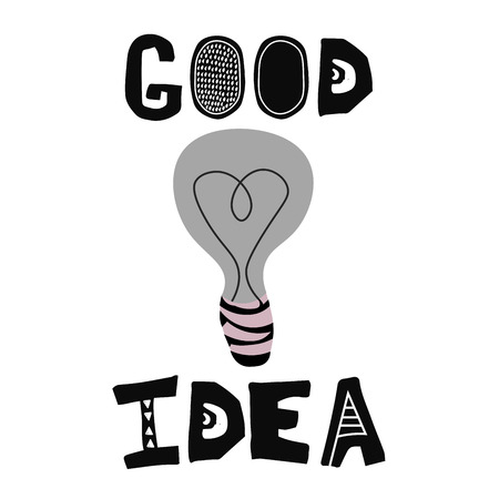 Good idea lettering with lamp in scandinavian style. Vector poster