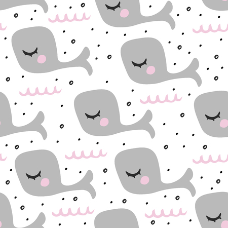 Cute whale fish pattern for kids, nursery. Hand drawn illustration for textile, posters, fabric or background.