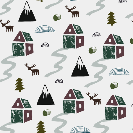 Wild nature with houses, mountains,deers and trees illustration. Nordic landscape. Seamless pattern in scandinavian style. Vector illustration.