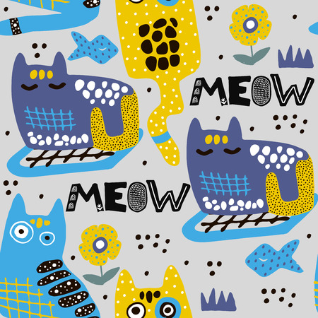 Pattern with cartoon cats,kittens in scandinavian style. Seamless kid illustration for fabric,textile,posters. Vector