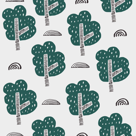 Pattern with trees. Kid drawing illustration in cartoon style. Scandinavian design.