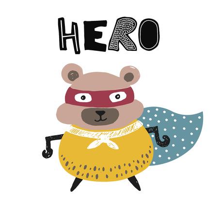 Hand drawn hamster kids poster. Cartoon childish illustration. Vector art 일러스트