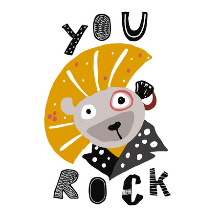 Hand drawn lion in punk rock style. Childish poster. Cute illustration for kids. Vector art