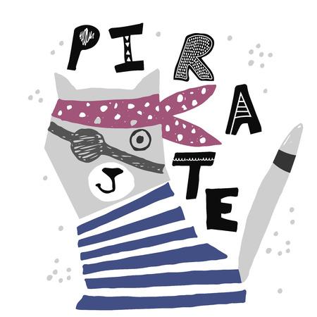 Hand drawn cat pirate. Kids illustration. Vector art  イラスト・ベクター素材