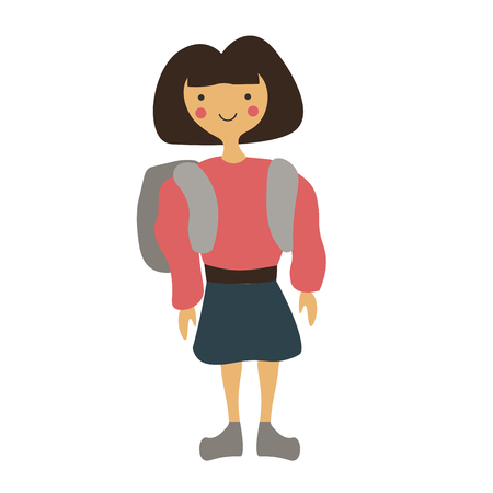 Abstract character. Collage style. Girl with bag going to school. Vector illustration. Ilustrace