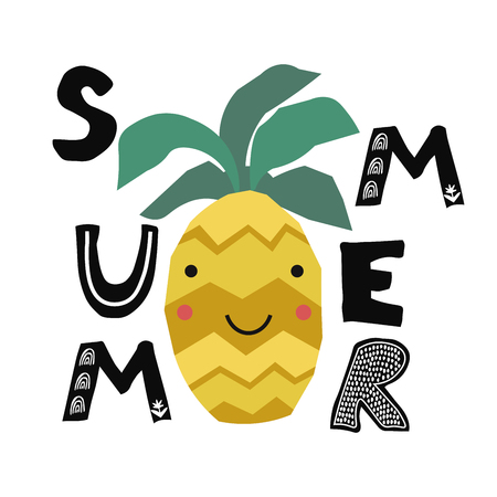 Kid interior poster with summer pineapple in scandinavian style. Collage art. Vector illustration