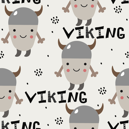 Pattern with cute little viking for kids. Scandinavian style. Vector illustration  イラスト・ベクター素材