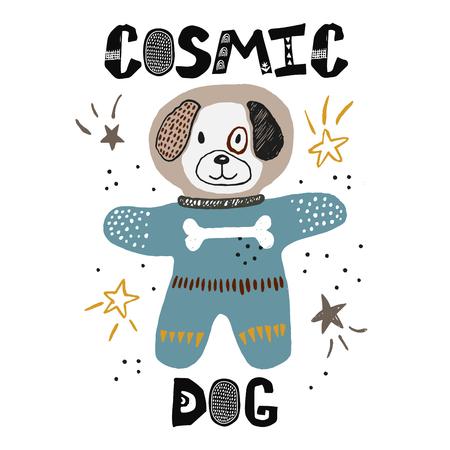 Dod in scape childish illustration. Cosmonaut drawing. Hand drawn nursery poster. Vector  イラスト・ベクター素材