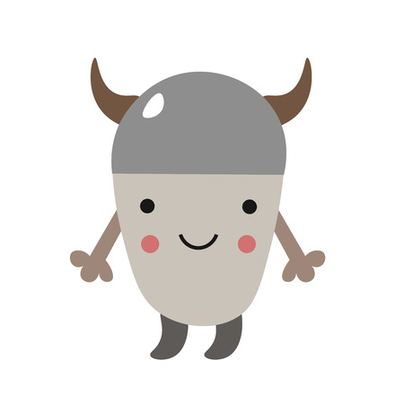 Cute little viking for kids. Scandinavian style. Vector illustration