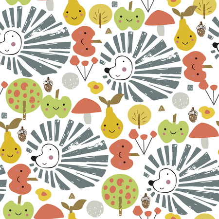 Hedgehog with harvest on the back. Childish cute cartoon illustration. Seamless pattern. Abstract autumn poster