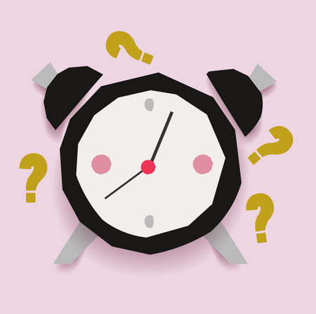 Retro vintage abstract clock with question signs. Alarm clock ringing. Paper cut vector illustration