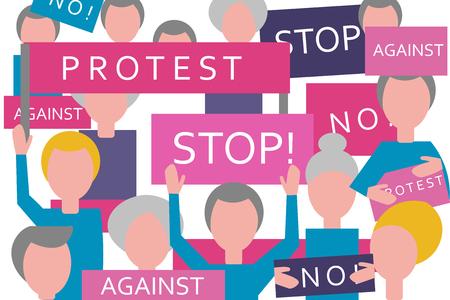 Croud protestation. Les gens avec des bannières et des pancartes. Réunion politique. militants et manifestants.