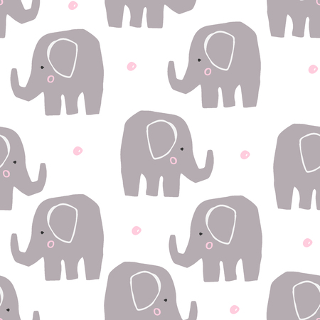 Cute elephant in scandinavian style. Animal illustration. Seamless pattern