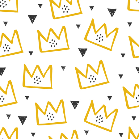 Pattern with yellow crown illustration in cartoon style. Scandinavian design