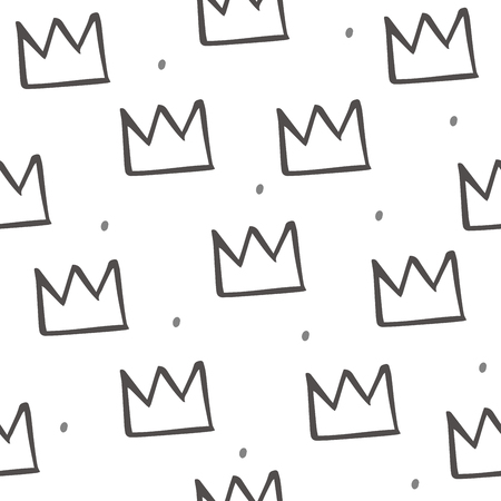 Pattern with crown illustration in cartoon style. Scandinavian design