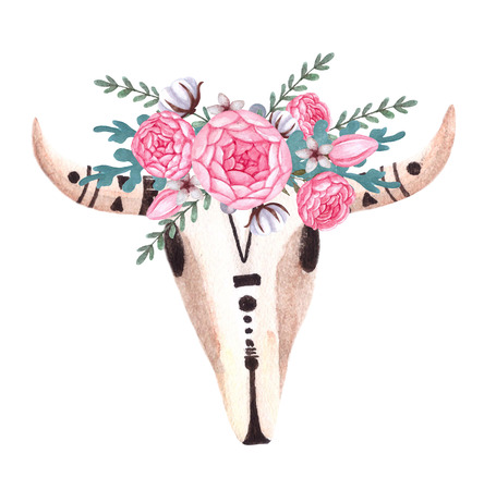 Cow Skull. Skull with flowers. Animal head in boho, tribal or ethnic style. Isolated on white background