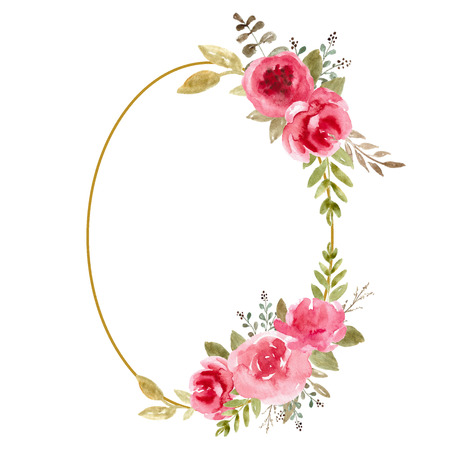 Watercolor Floral Frame, Flower Wreath. Foliage backdrop for wedding invitation, greeting card. Pink roses, red flowers Фото со стока
