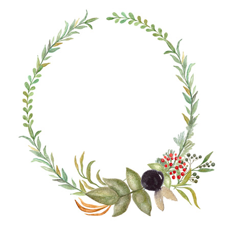 Floral Frame, Watercolor Wedding Decor. Flower wreath, Template with leaves for invitations and cards.