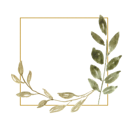 Wedding Frame, Watercolor Backdrop, Hand Painted Wraeth with foliage. Template for Invitation, greeting card. Green leaves, greenery