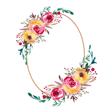 Watercolor Floral Frame, Flower Wreath. Foliage backdrop for wedding invitation, greeting card. Yellow and red flowers