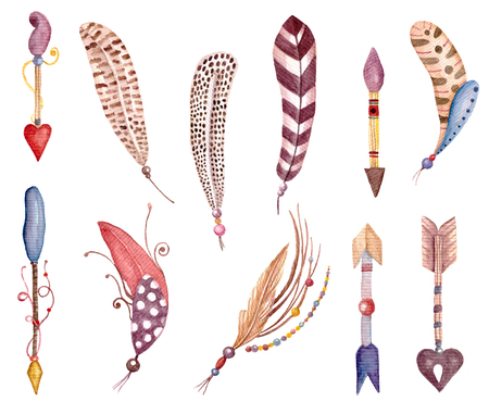 Watercolor feathers and arrows. Ethnic and tribal illustration