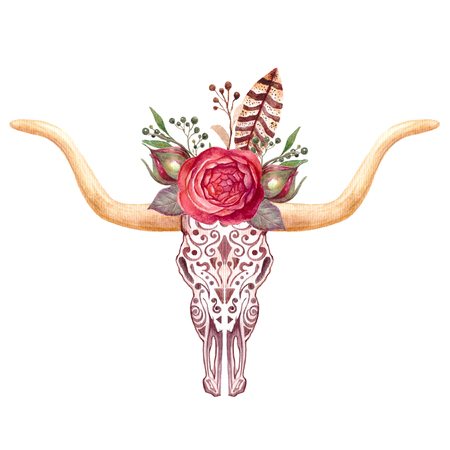 Boho illustration, animal skull with flowers, cow, bull. Tribal art