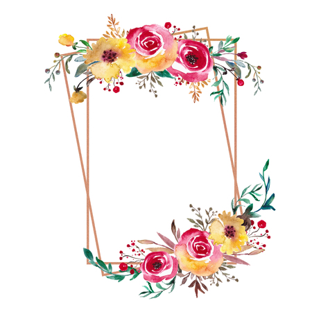 Wedding Frame, Watercolor Backdrop, Hand Painted Wraeth with foliage. Template for Invitation, greeting card. Yellow, red flowers