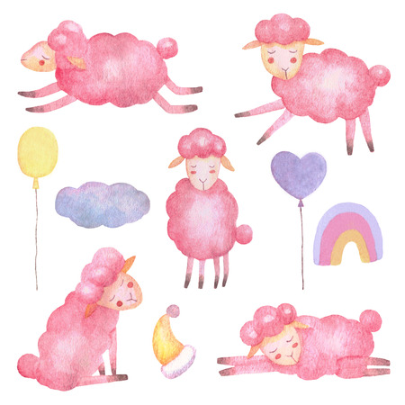 Sheep watercolor animals set for nursery