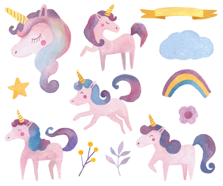 Watercolor animals set with unicorn and rainbow for nursery