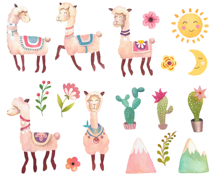 Watercolor animals set with llama, alpaca. Nursery art