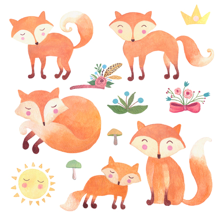 Fox watercolor animals set for nursery