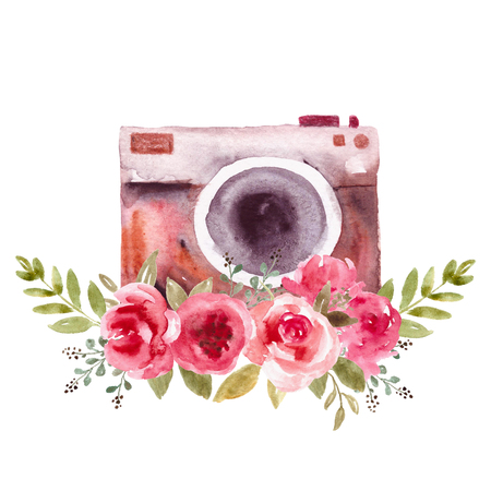 Watercolor vintage camera, retro camera. Logo and emblem for photographer with flowers, floral photocamera.