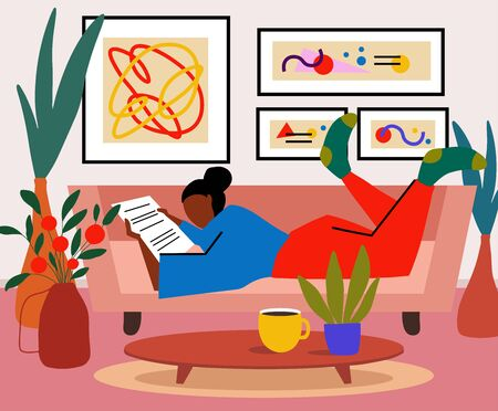 Lonely woman sitting on sofa in her room and reeding newspaper or book. Weekend or free time spending. Young girl chilling out with cup of tee or coffee. Vector cartoon flat illustration.