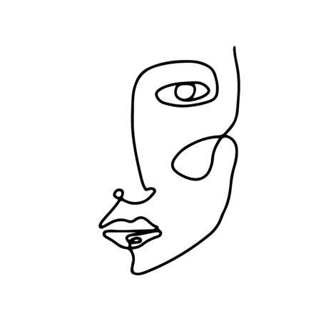 Visage de femme d'art abstrait dessiné à la main avec une ligne continue. Dessin simple de portrait de jeune fille. Illustration de caractère vectoriel contemporain